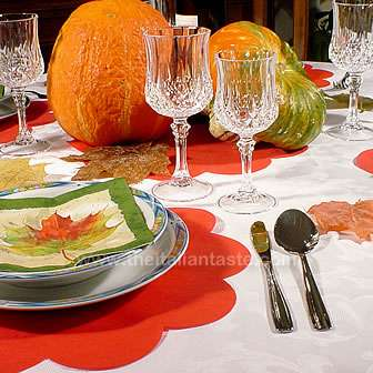 Fall table with pumpkin and leaf decors